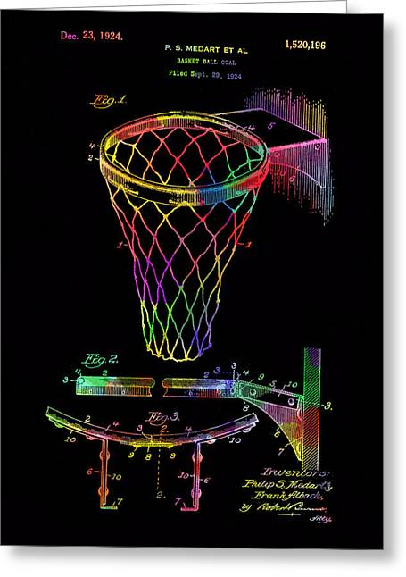 Basket Ball Game Greeting Cards - Basketball goal vintage patent 1924 Greeting Card by Eti Reid