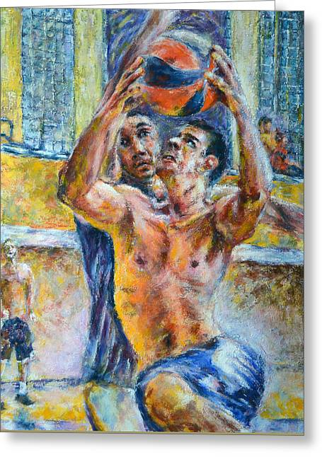 Olympian Paintings Greeting Cards - Basketball. In the attack Greeting Card by Evgeni Bazelevski