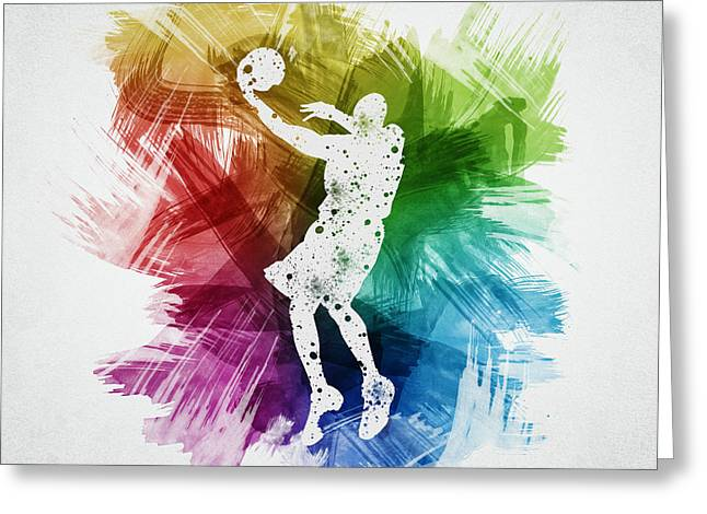 Basketball Drawings Greeting Cards - Basketball Player Art 01 Greeting Card by Aged Pixel