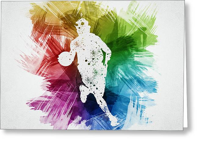 Basketball Drawings Greeting Cards - Basketball Player Art 02 Greeting Card by Aged Pixel