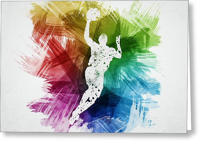 Sports Drawings Greeting Cards - Basketball Player Art 05 Greeting Card by Aged Pixel