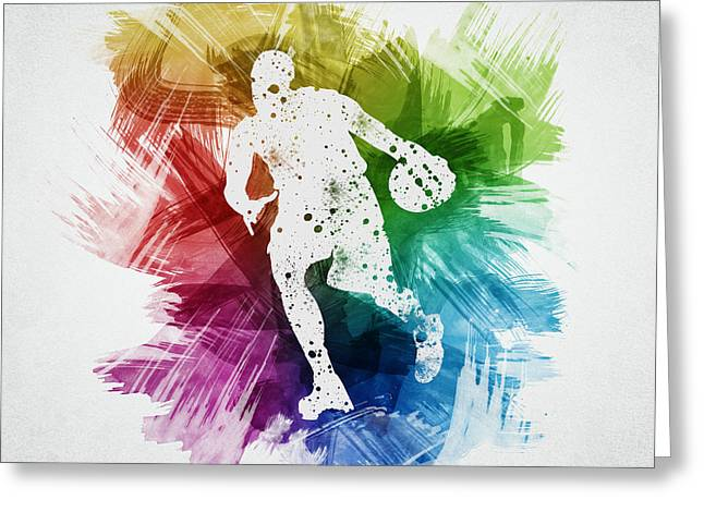 Basketball Drawings Greeting Cards - Basketball Player Art 06 Greeting Card by Aged Pixel