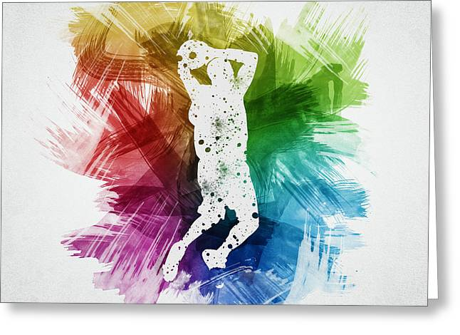 Basketball Drawings Greeting Cards - Basketball Player Art 07 Greeting Card by Aged Pixel