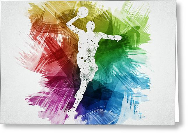 Basketball Drawings Greeting Cards - Basketball Player Art 09 Greeting Card by Aged Pixel