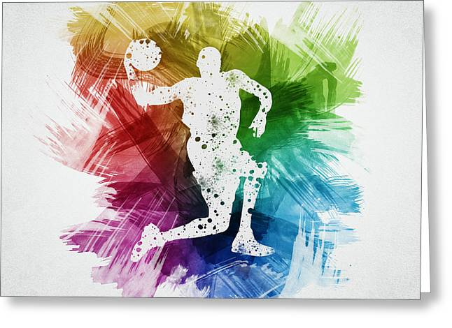 Basketball Player Art 12 Greeting Card by Aged Pixel
