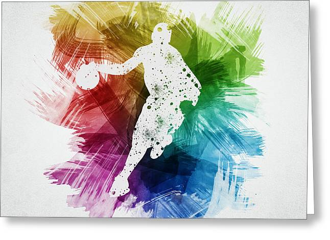 Basketball Drawings Greeting Cards - Basketball Player Art 14 Greeting Card by Aged Pixel