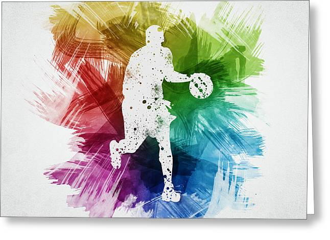 Basketball Drawings Greeting Cards - Basketball Player Art 16 Greeting Card by Aged Pixel