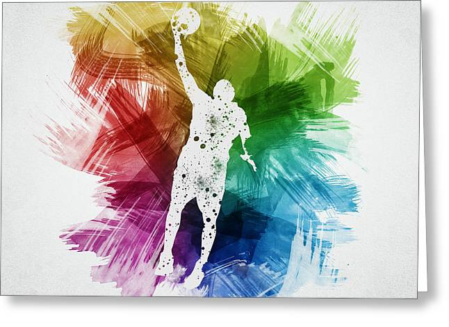 Basketball Drawings Greeting Cards - Basketball Player Art 19 Greeting Card by Aged Pixel