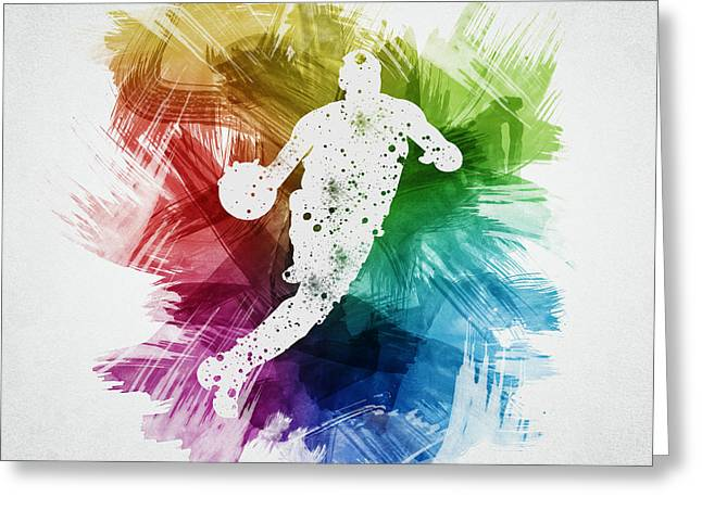 Basketball Player Art 20 Greeting Card by Aged Pixel