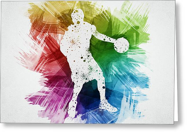 Basketball Drawings Greeting Cards - Basketball Player Art 21 Greeting Card by Aged Pixel