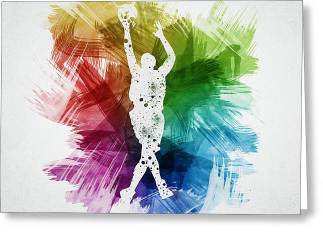 Basketball Drawings Greeting Cards - Basketball Player Art 22 Greeting Card by Aged Pixel