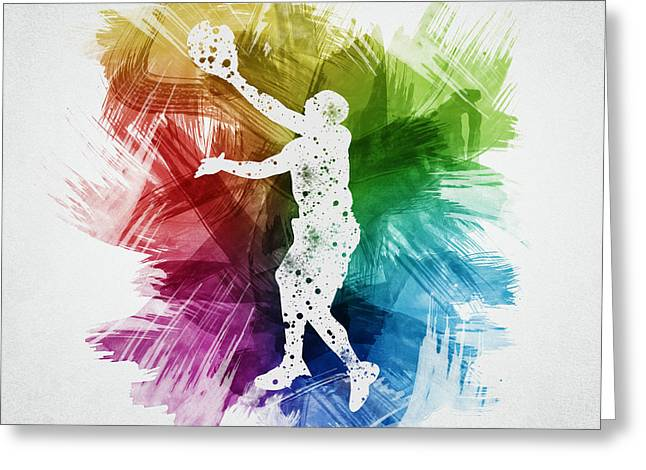 Basketball Drawings Greeting Cards - Basketball Player Art 23 Greeting Card by Aged Pixel