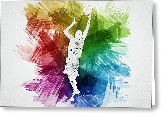 Basketball Drawings Greeting Cards - Basketball Player Art 24 Greeting Card by Aged Pixel