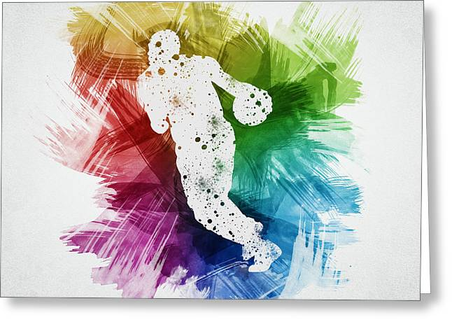 Basketball Drawings Greeting Cards - Basketball Player Art 26 Greeting Card by Aged Pixel