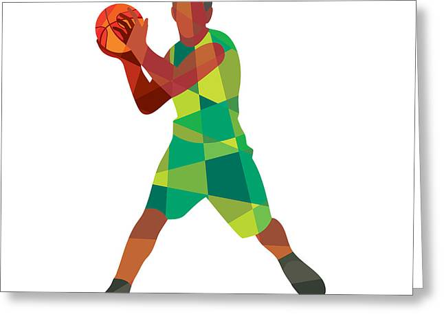 Geometric Artwork Greeting Cards - Basketball Player Ball In Action Low Polygon Greeting Card by Aloysius Patrimonio
