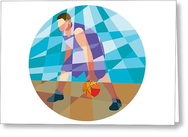 Dribbling Greeting Cards - Basketball Player Dribbling Ball Circle Low Polygon Greeting Card by Aloysius Patrimonio
