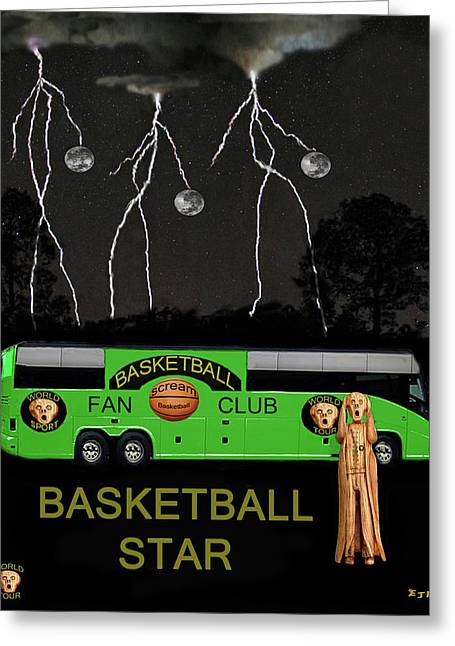 Shooting The Ball Greeting Cards - Basketball Star Greeting Card by Eric Kempson