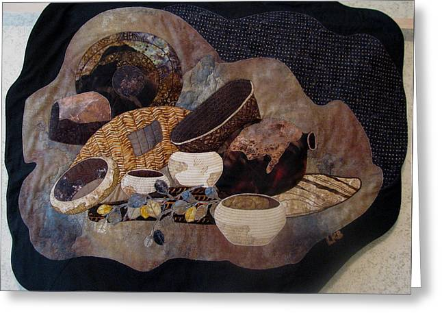 Indian Tapestries - Textiles Greeting Cards - Baskets Greeting Card by Lynda K Boardman