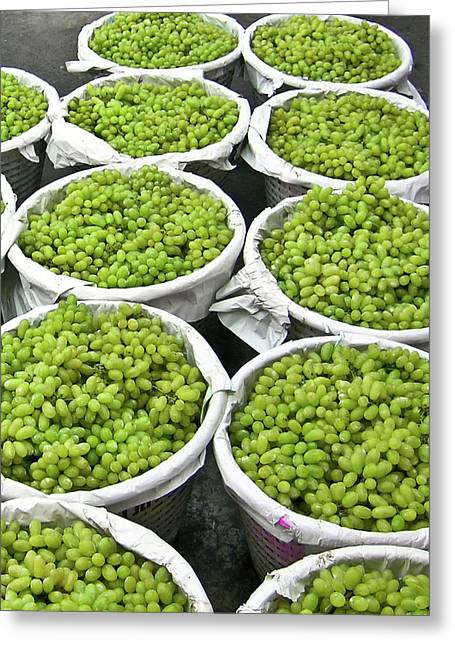 White Grape Greeting Cards - Baskets of White Grapes Greeting Card by Douglas Barnett
