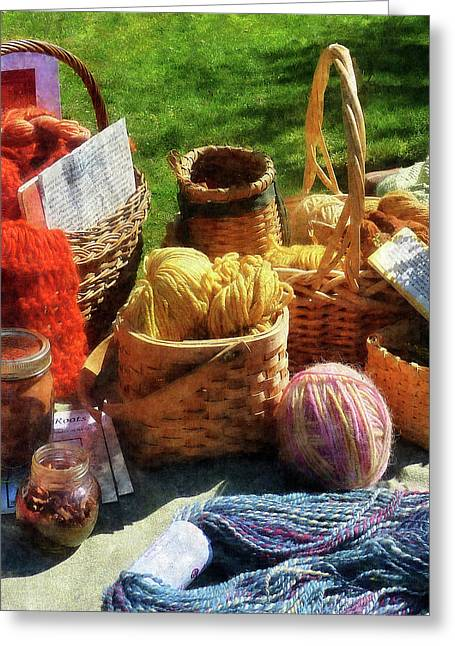 Knitting Greeting Cards - Baskets of Yarn at Flea Market Greeting Card by Susan Savad