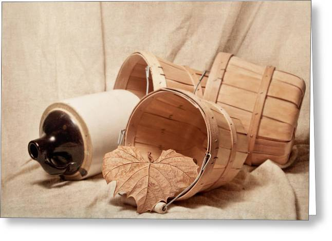 Gathering Greeting Cards - Baskets With Crock Greeting Card by Tom Mc Nemar