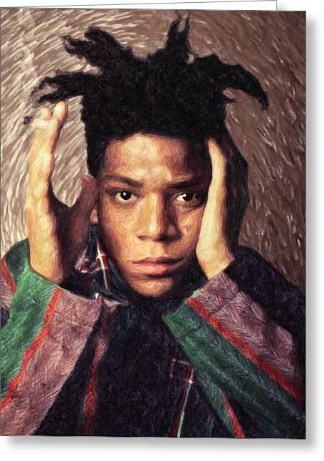 Stencil Portrait Greeting Cards - Basquiat Greeting Card by Taylan Soyturk