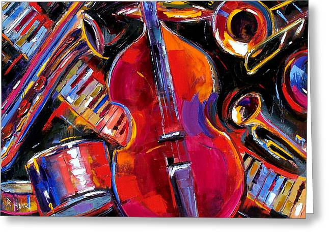 Bass And Friends Greeting Card by Debra Hurd