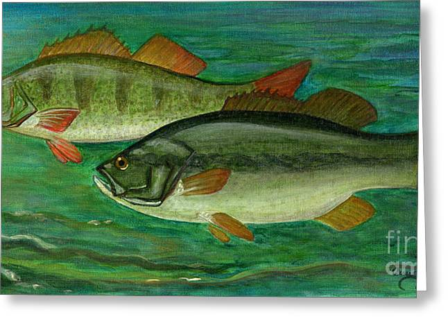 Bass And Perch Greeting Card by Anna Folkartanna Maciejewska-Dyba
