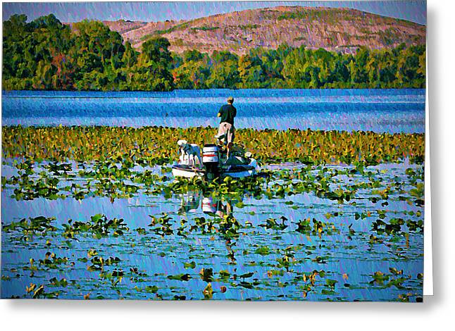 Bass Fishing Greeting Card by Bill Cannon