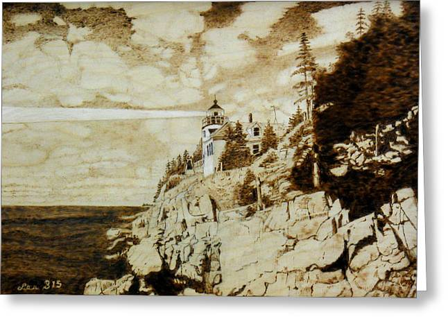 Maine Lighthouses Pyrography Greeting Cards - Bass Harbor Head Lighhouse Greeting Card by H Leslie Simmons