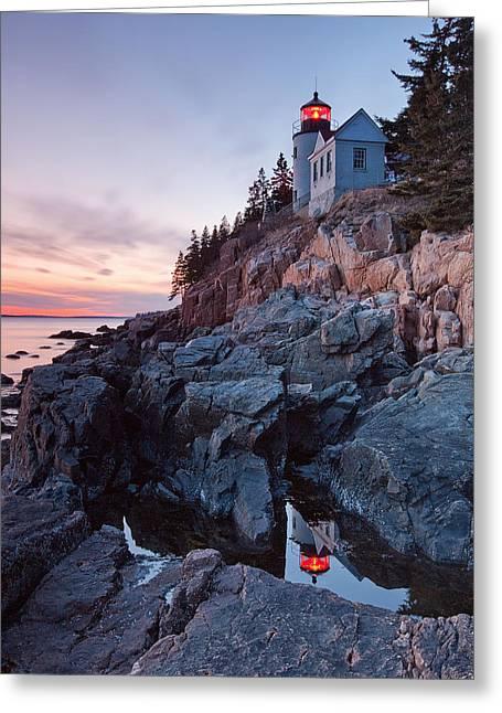 Bass Head Light Greeting Cards - Bass Harbor Head Light Greeting Card by Patrick Downey