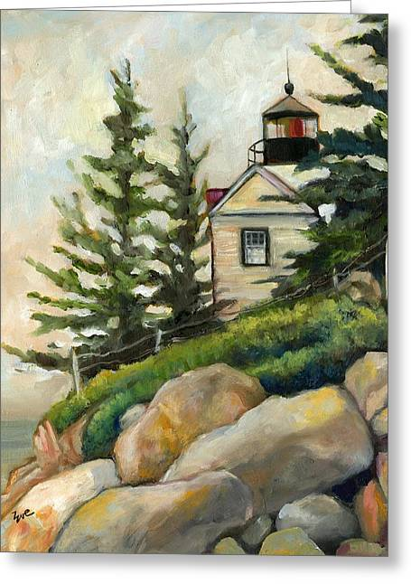 Maine Lighthouses Paintings Greeting Cards - Bass Harbor Head Lighthouse Greeting Card by Eve  Wheeler