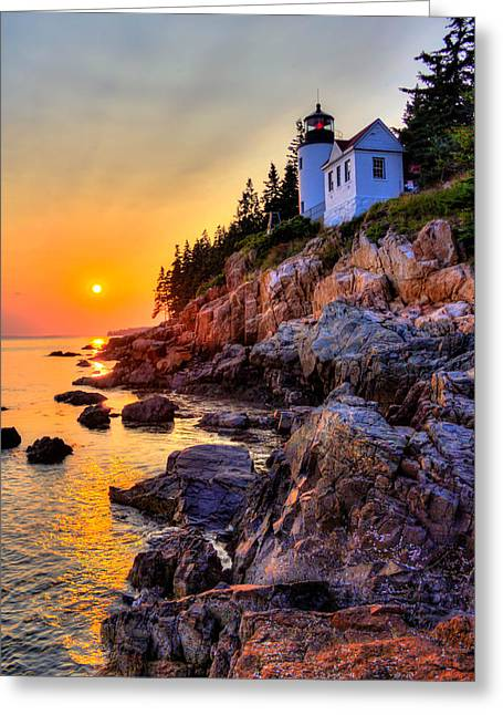 Maine Lighthouses Greeting Cards - Bass Harbor Head lighthouse Greeting Card by Peggy Berger
