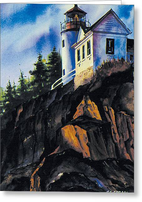 Maine Lighthouses Paintings Greeting Cards - Bass Harbor light Greeting Card by Chuck Creasy