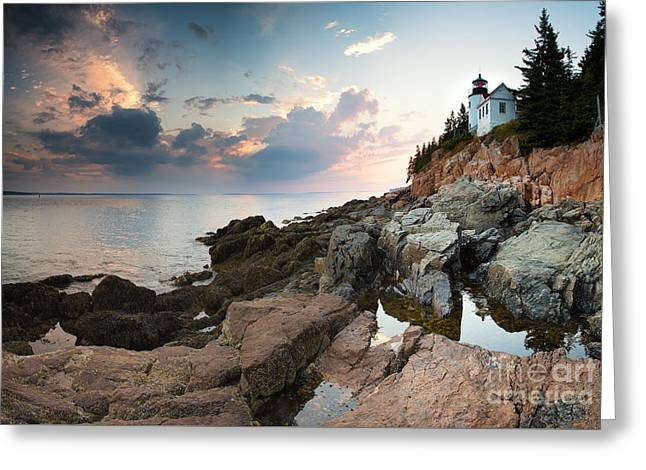 Bass Harbor Lighthouse At Dusk Greeting Card by Jane Rix