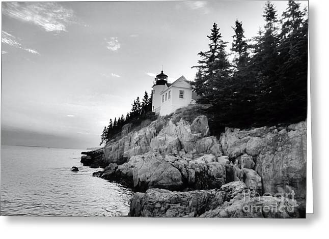 New England Ocean Greeting Cards - Bass Harbor Lighthouse in Black and White Greeting Card by Elizabeth Dow
