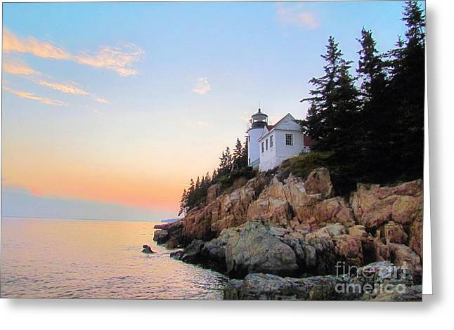 New England Ocean Greeting Cards - Bass Harbor Sunset II Greeting Card by Elizabeth Dow