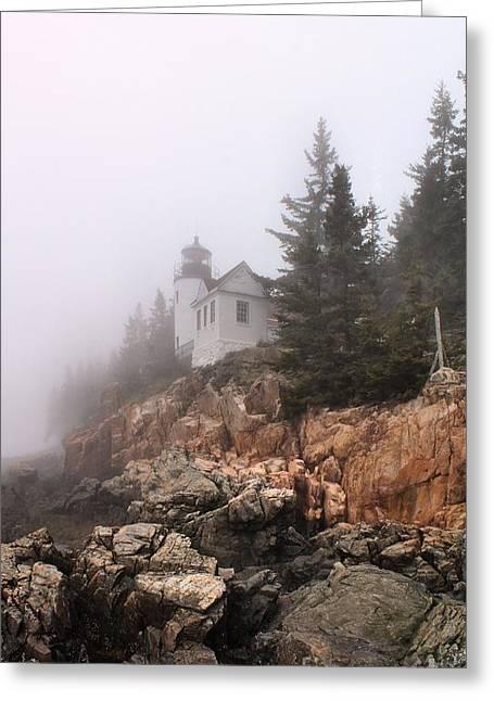 Foggy Beach Greeting Cards - Bass Harbor_3789 Greeting Card by Joseph Marquis