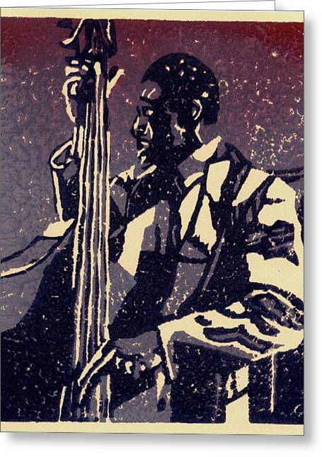 Linocut Reliefs Greeting Cards - Bass Greeting Card by John Brisson