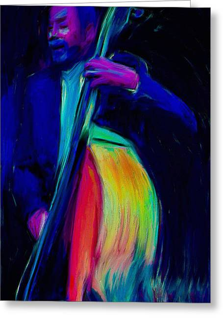 Blue Abstracts Greeting Cards - Bass Player Greeting Card by Benita Landrey