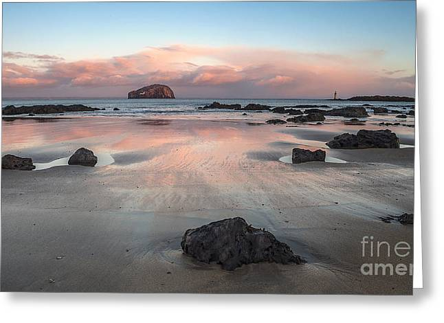 Beach Photography Greeting Cards - Bass Rock Sunrise Greeting Card by Alexis Manson