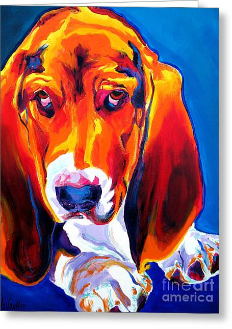 Alicia Vannoy Call Paintings Greeting Cards - Basset - Ears Greeting Card by Alicia VanNoy Call
