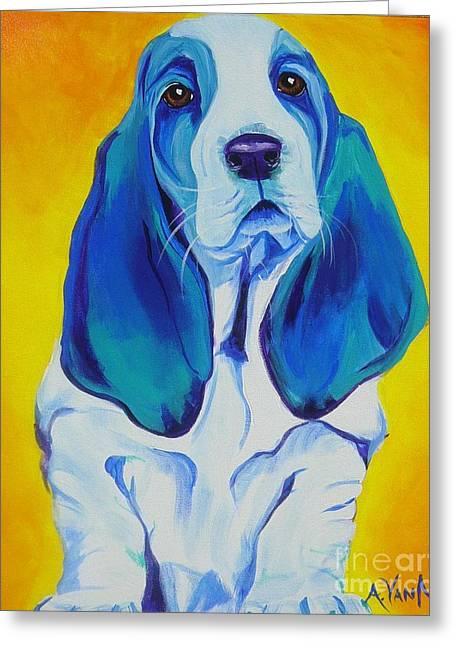 Basset Hound Prints Greeting Cards - Basset - Ol Blue Greeting Card by Alicia VanNoy Call
