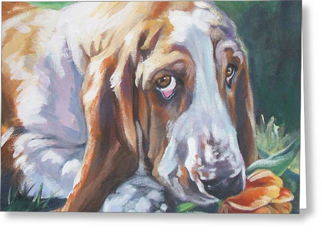 Recently Sold -  - Puppies Paintings Greeting Cards - Basset Hound Greeting Card by L A Shepard