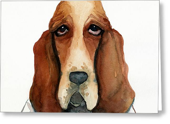 Pictures Of Dogs Greeting Cards - Basset Hound Greeting Card by Leanne Wilkes