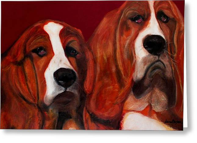 Basset Hound - Mia And Marcellus Greeting Card by Laura  Grisham