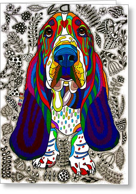 Basset Hound Greeting Card by Pet Coloring Pages