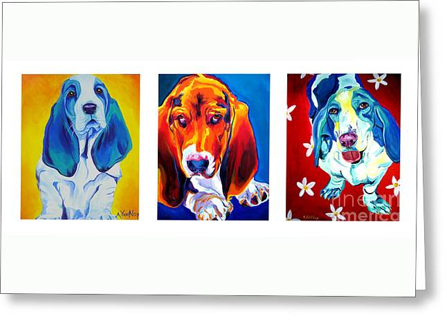 Basset Hound Prints Greeting Cards - Basset Trio Greeting Card by Alicia VanNoy Call