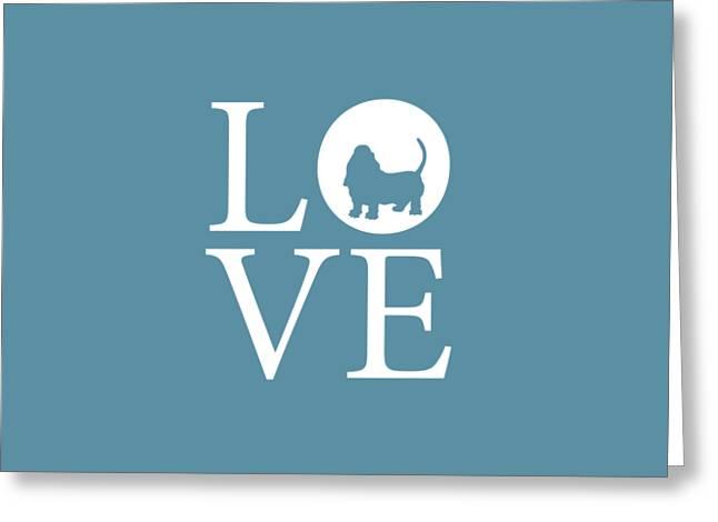 Bassett Love Greeting Card by Nancy Ingersoll