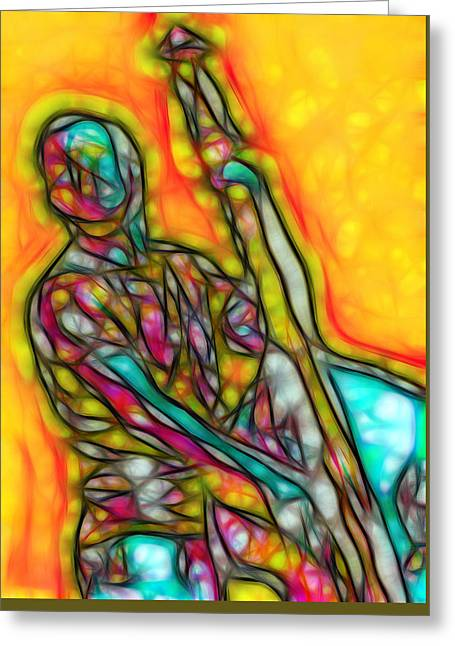 Bassist I Greeting Card by Nikola Durdevic